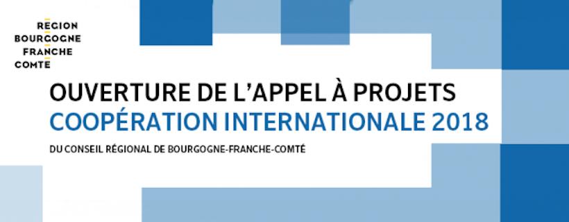 """Appel à projets """"Coopération internationale"""" 2018 du Conseil régional de Bourgogne-Franche-Comté"""