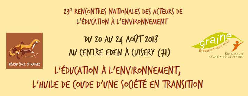 29es Rencontres nationales des acteurs de l'éducation à l'environnement 2018